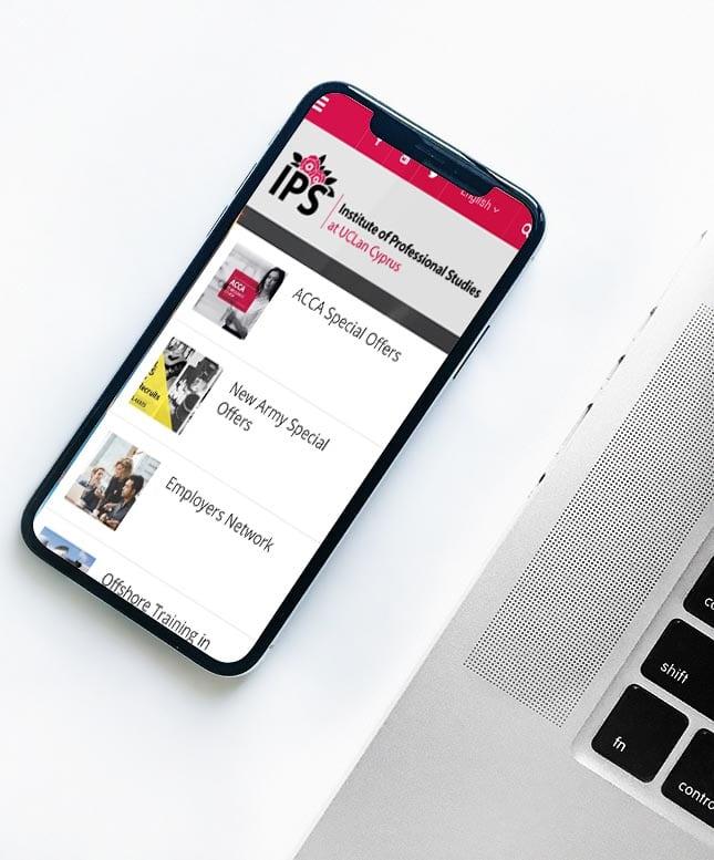 Uclan IPS website on mobile